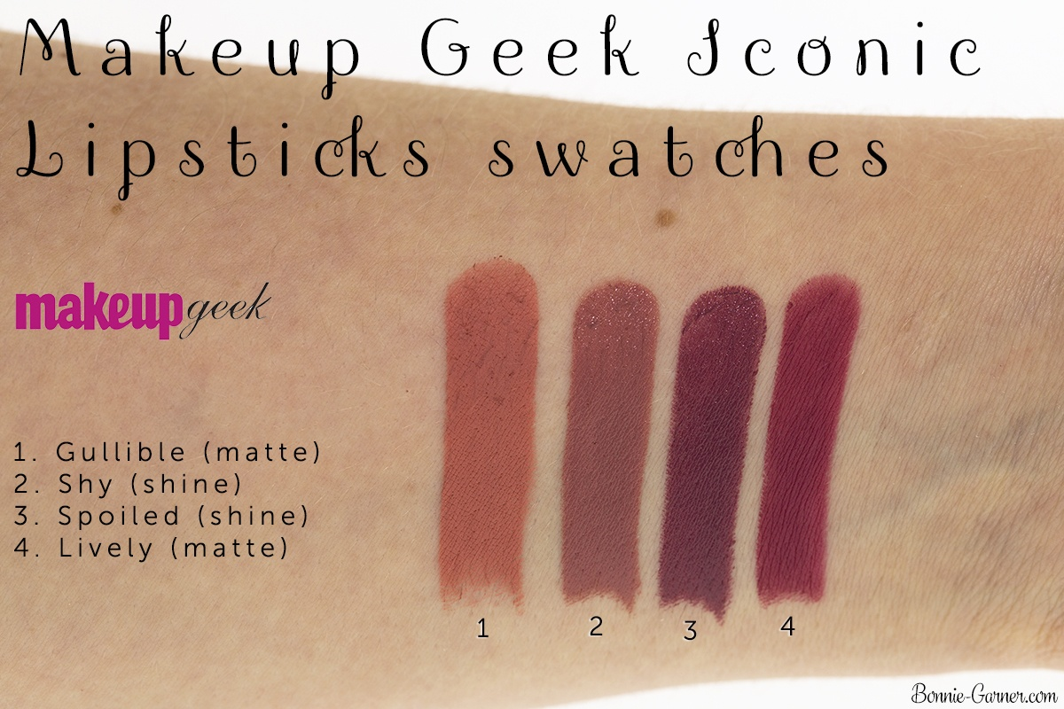 Makeup Geek Iconic Lipsticks: Gullible, Shy, Spoiled, Lively swatches