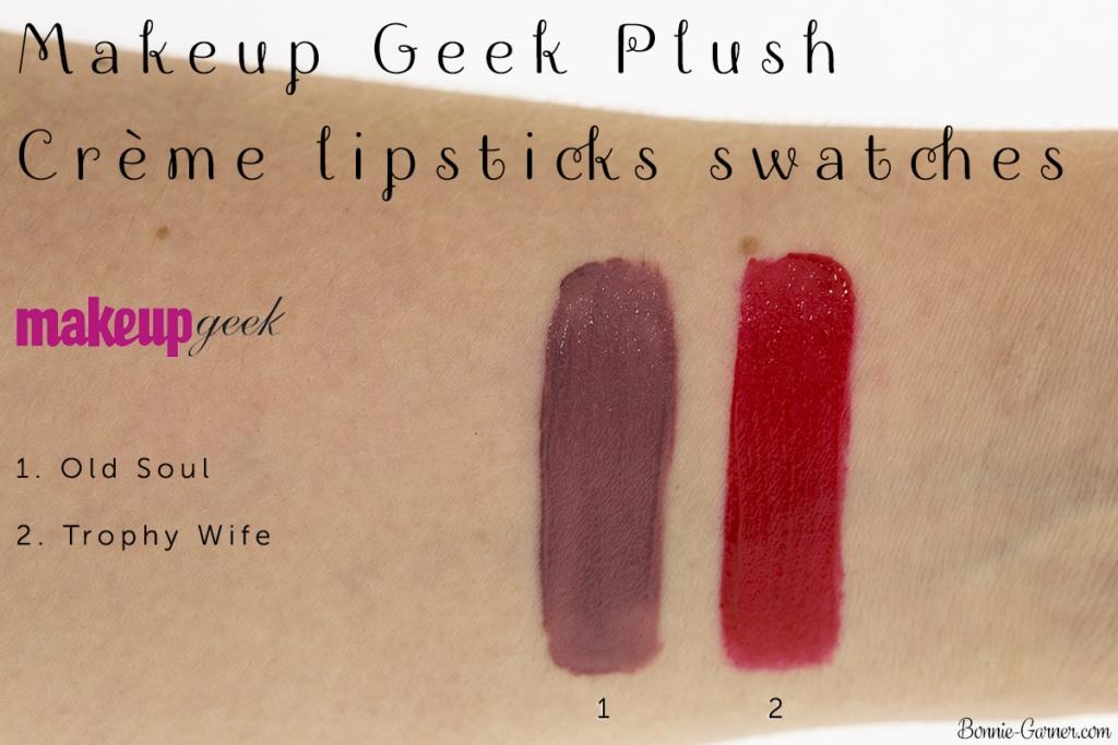 Makeup Geek Plush Creme liquid lipsticks: Old Soul, Trophy Wife swatches