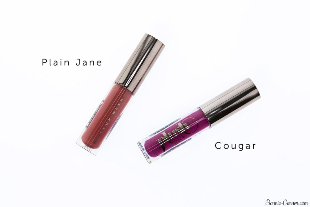 Makeup Geek Plush Matte liquid lipsticks Plain Jane, Cougar