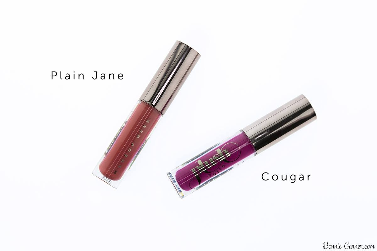 Makeup Geek Plush Matte liquid lipsticks Plain Jane, Cougar
