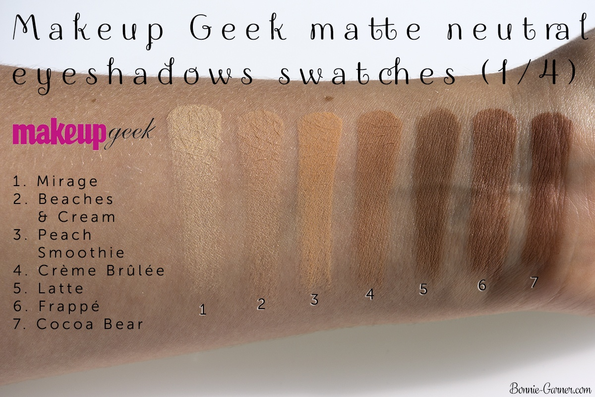 Makeup Geek neutral matte eyeshadows: Mirage, Beaches & Cream, Peach Smoothie, Crème Brûlée, Latte, Frappé, Cocoa Bear swatches