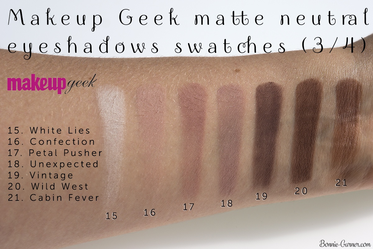 Makeup Geek neutral matte eyeshadows: White Lies, Confection, Petal Pusher, Unexpected, Vintage, Wild West, Cabin Fever swatches