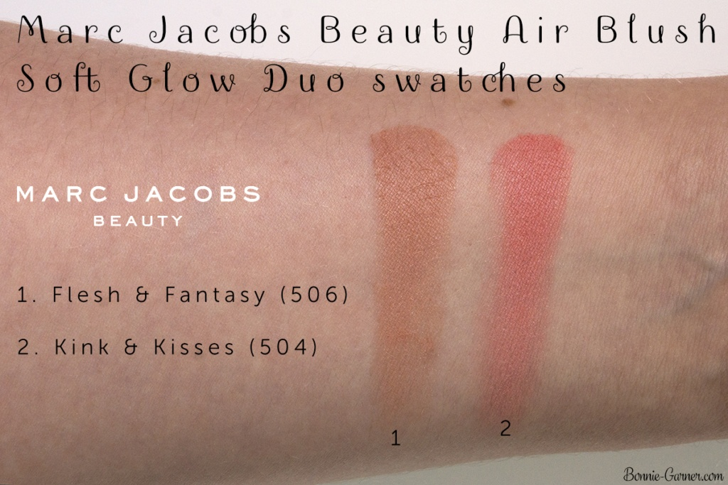 Marc Jacobs Beauty Air Blush Soft Glow Duo: Kink & Kisses, Flesh & Fantasy swatches