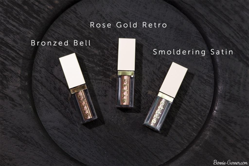 Stila Magnificent Metals Glitter & Glow Liquid Eye Shadow: Rose Gold Retro, Bronzed Bell, Smoldering Satin