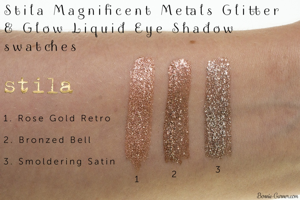 Stila Magnificent Metals Glitter & Glow Liquid Eye Shadow: Rose Gold Retro, Bronzed Bell, Smoldering Satin swatches