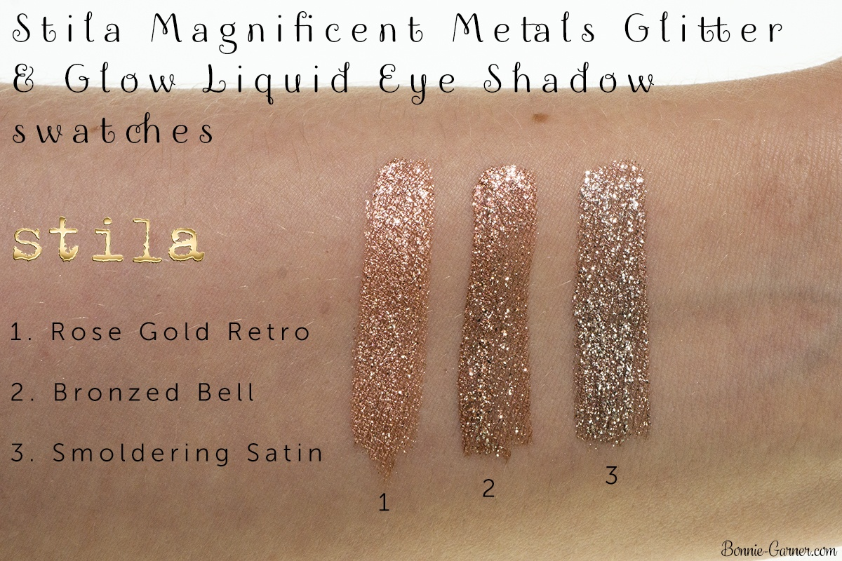 Stila Magnificent Metals Glitter & Glow Liquid Eye Shadow: Rose Gold Retro, Bronzed Bell, Smoldering Satin swatches