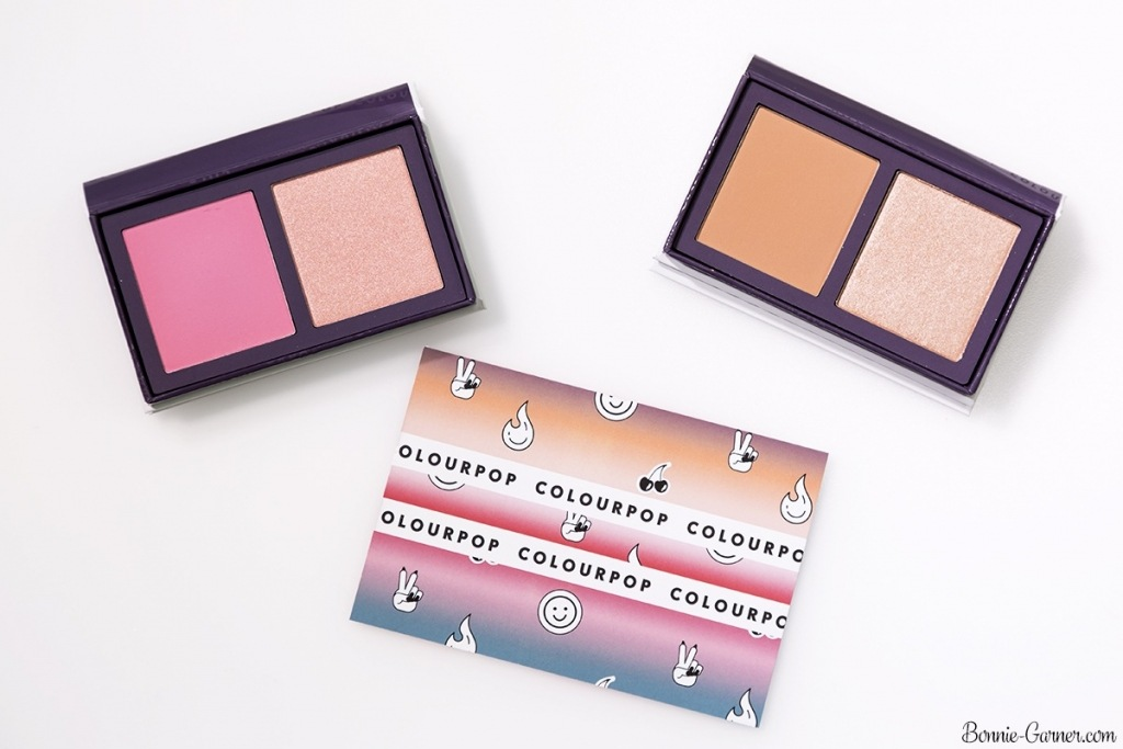 ColourPop Pressed Powder Face Duo blush and highlighter: Double Play (Sand collection), Done Deal (Pink collection)
