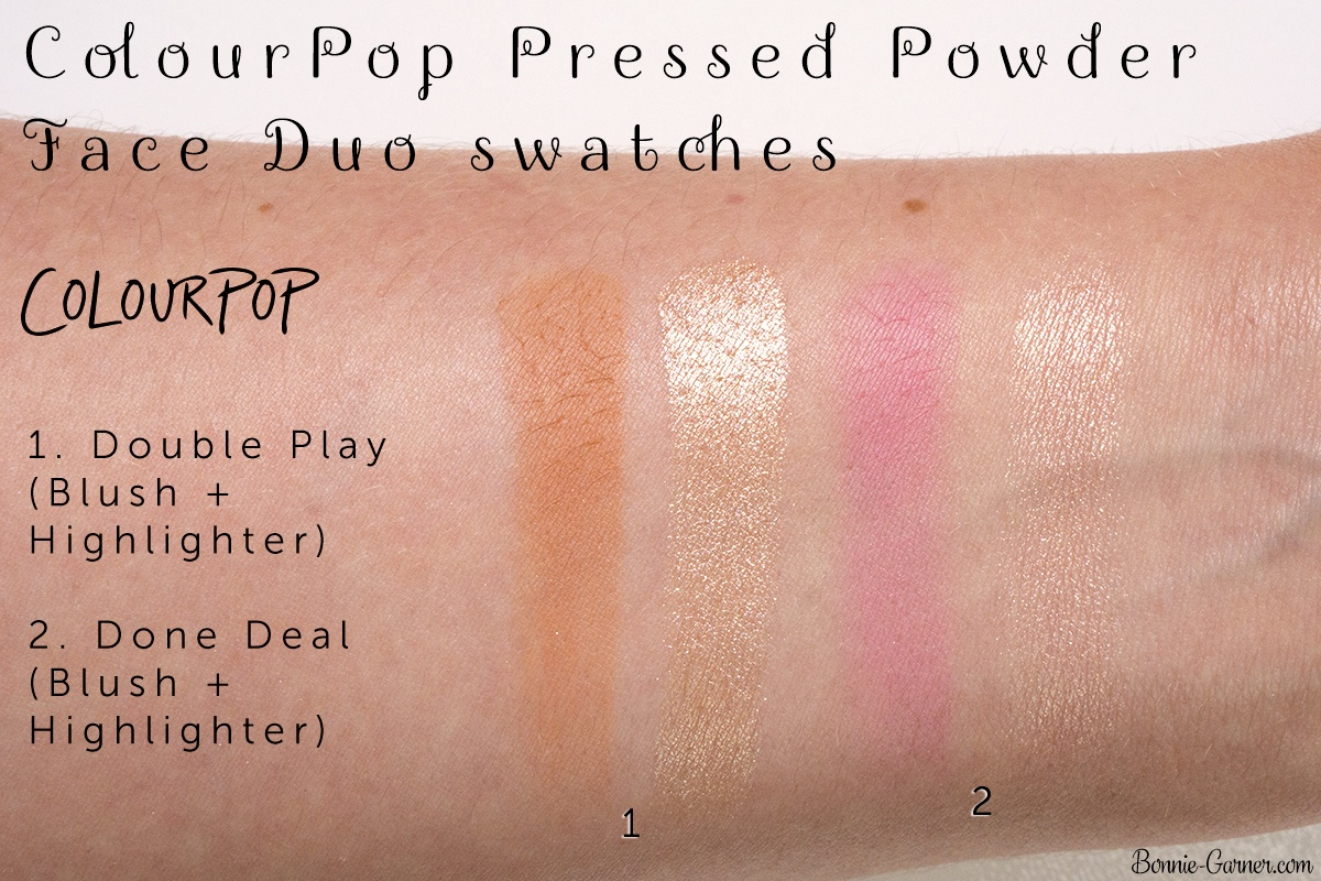 ColourPop Pressed Powder Face Duo blush and highlighter: Double Play (Sand collection), Done Deal (Pink collection) swatches
