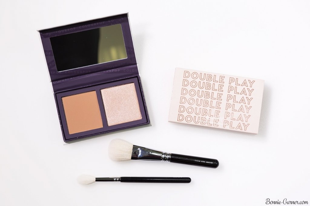 ColourPop Pressed Powder Face Duo blush and highlighter: Double Play (Sand collection)