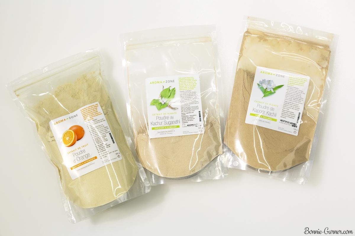 Natural dry shampoos: Orange, Kachur Sugandhi, Kapoor Kachli powders