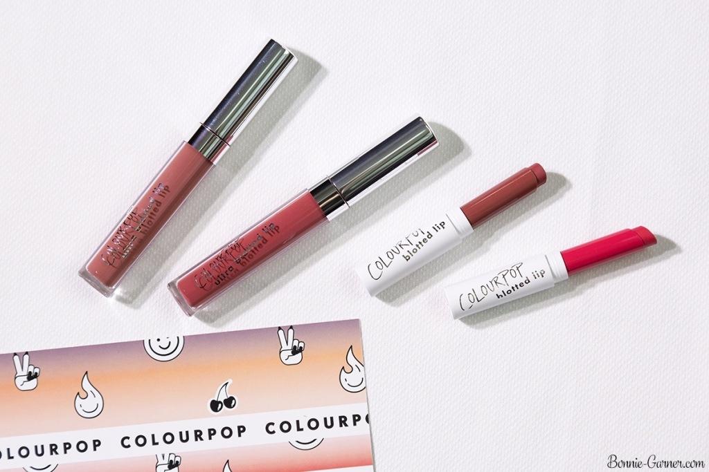 ColourPop Pressed Blotted Lips: On A Stick, Drip; Ultra Blotted Lips: Zuma, Doozy