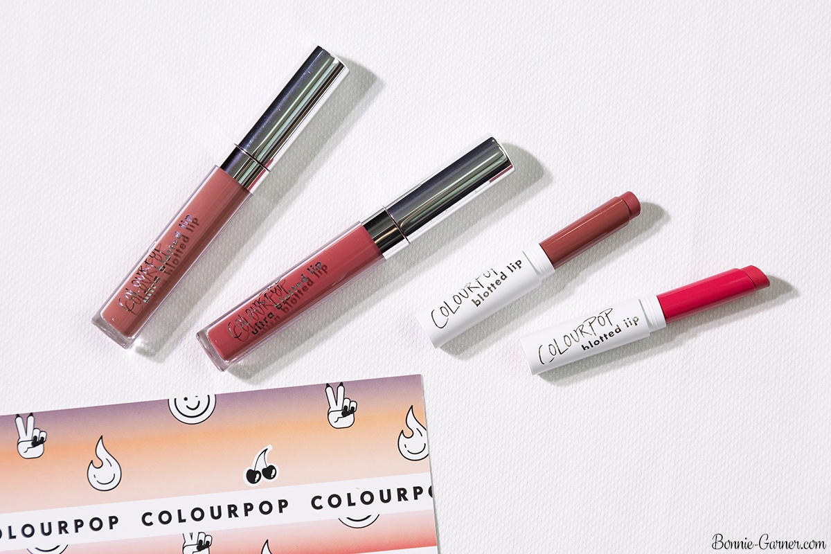 ColourPop Pressed Blotted Lips: On A Stick, Drip; Ultra Blotted Lips: Zuma, Doozy