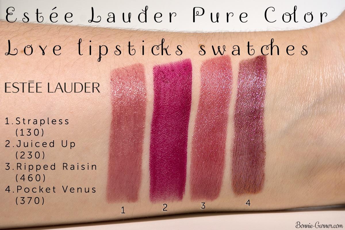 Estée Lauder Pure Color Love lipsticks: 130 Strapless, 230 Juiced Up, 460 Ripped Raisin, 370 Pocket Venus
