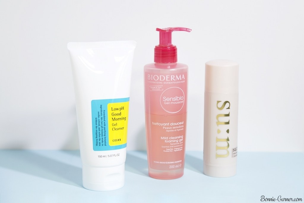 Bioderma Sensibio Mild cleansing foaming gel, Cosrx Low pH Good Morning gel cleanser, Su:m37 Rose Miracle Cleansing Stick