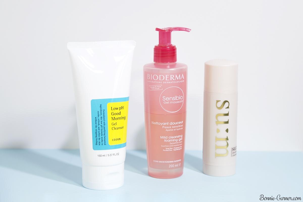Bioderma Sensibio Mild cleansing foaming gel, Cosrx Low pH Good Morning gel cleanser, Su:m37 Rose Miracle Cleansing Stick