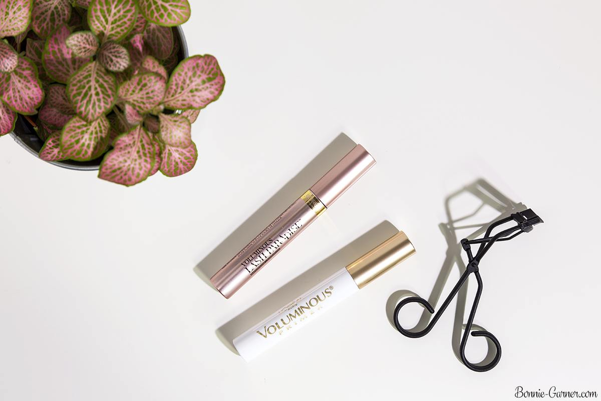 L'Oréal Voluminous Lash Paradise mascara, L'Oréal Voluminous primer, Surratt eyelash curler