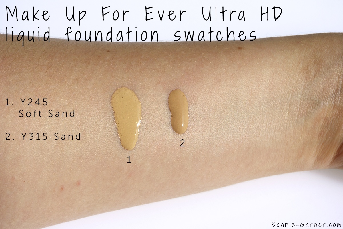 Make Up For Ever Ultra HD liquid foundation Y315 sand & Y245 soft sand swatches